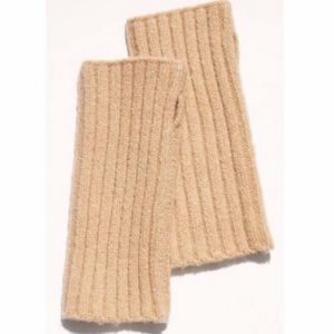 FREE PEOPLE Outside the Lines Tan Arm Warmers Neutral Gloves